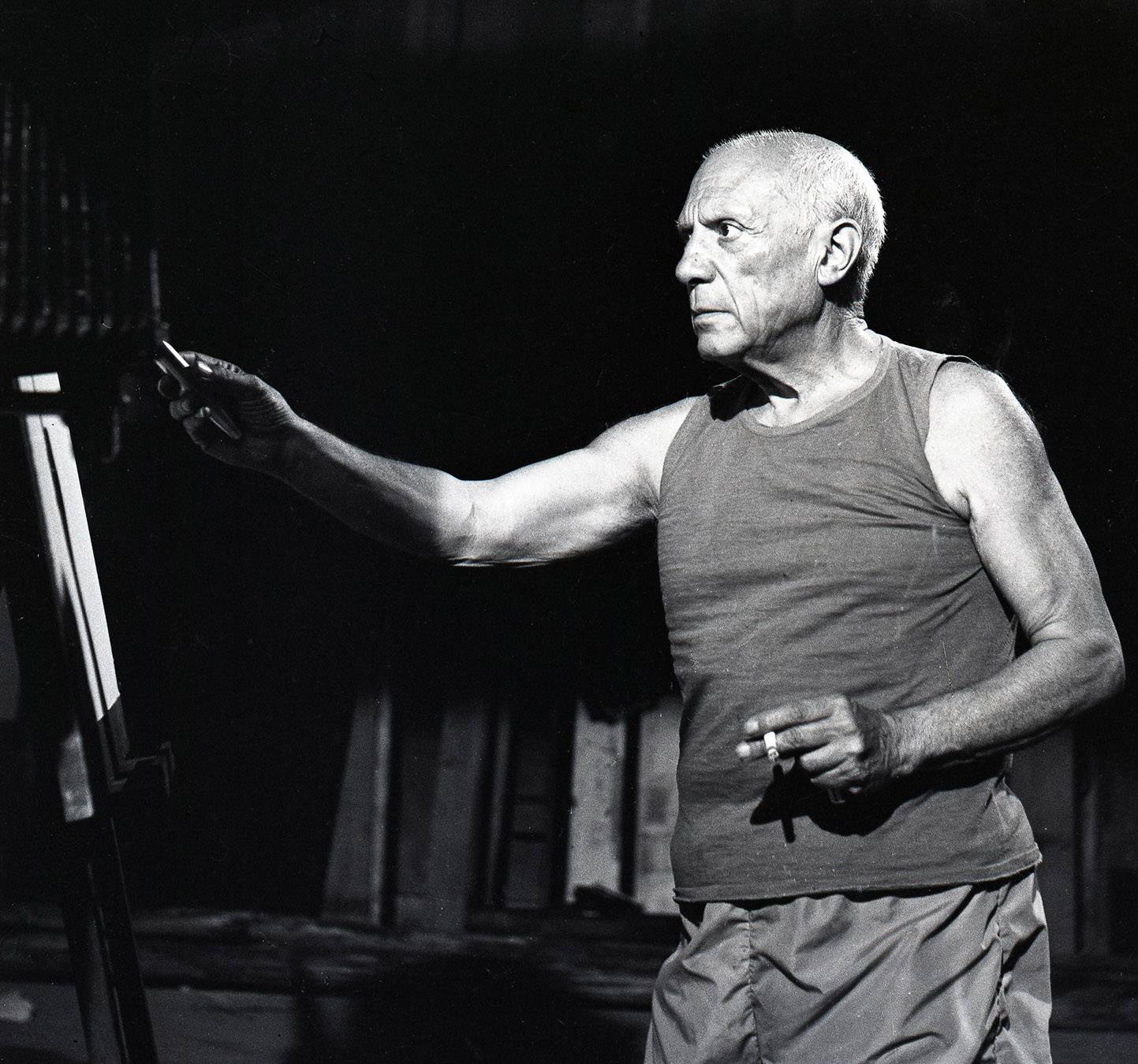 "Picasso during ""Le Mystere Picasso"", Nice 1955, Canson fine art print, mounted, printed 2013 122x110cm, Edition of 7, Also available: Edition of 10, 80×72.5cm"