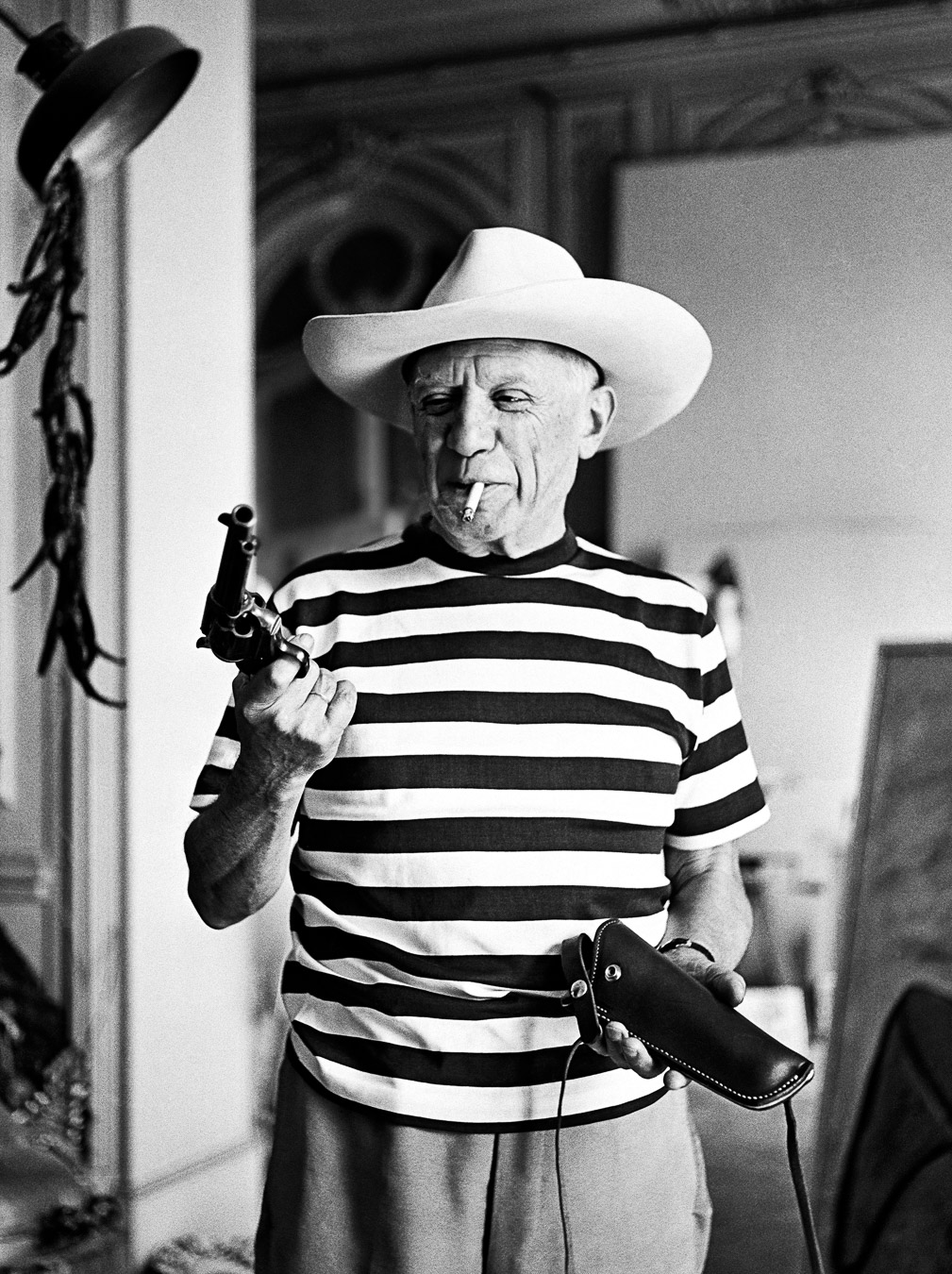 Picasso with the revolver and hat of Gary Cooper, 1959 Canson fine art print, mounted, printed 2013 110x139cm, Edition of 7, Also available: Edition of 10, 75x92cm