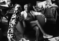 Picasso and his dog pero, Cannes, 1961, Silver gelatin print 40x50cm