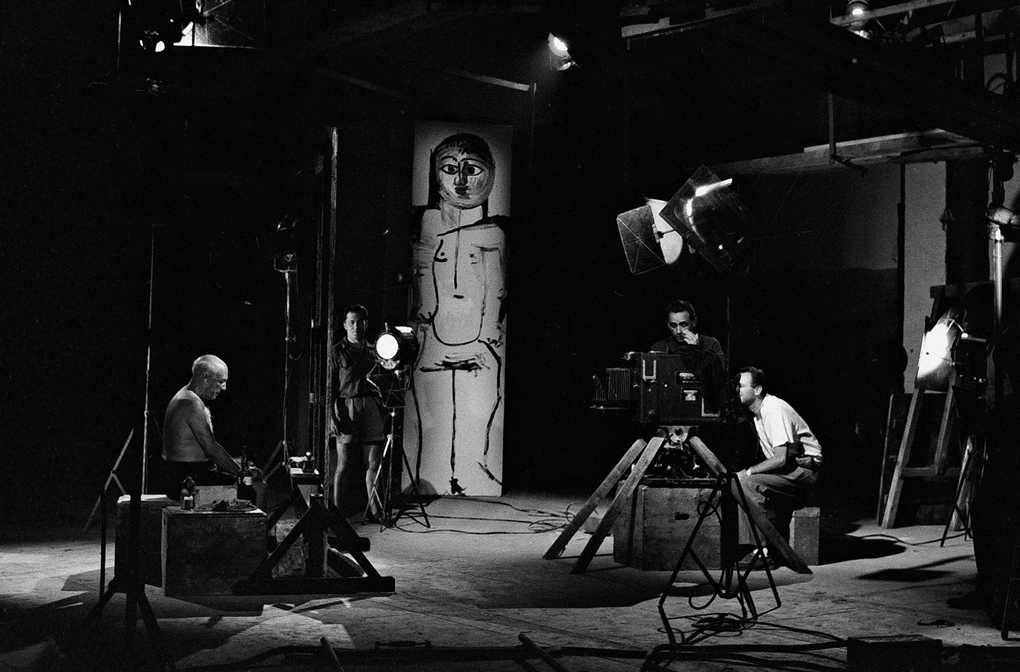 "Picasso during the filming of ""Le Mystère Picasso"", by Henri-Georges Clouzot, Studios de La Victorine, Nice, 1955 Silver gelatin print 40x50cm"